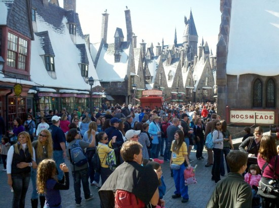 Wizarding World of Harry Potter: Muggles busy in Hogsmeade.