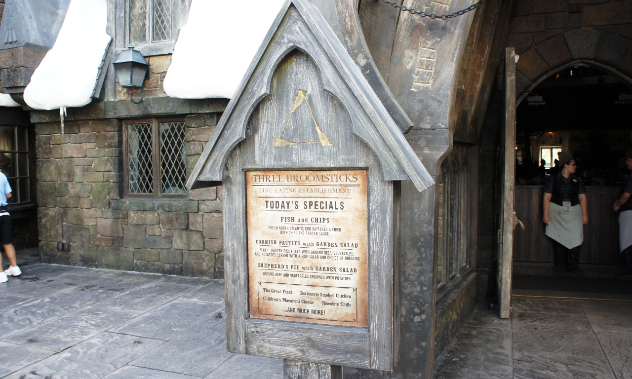 Three Broomsticks: Today's specials.