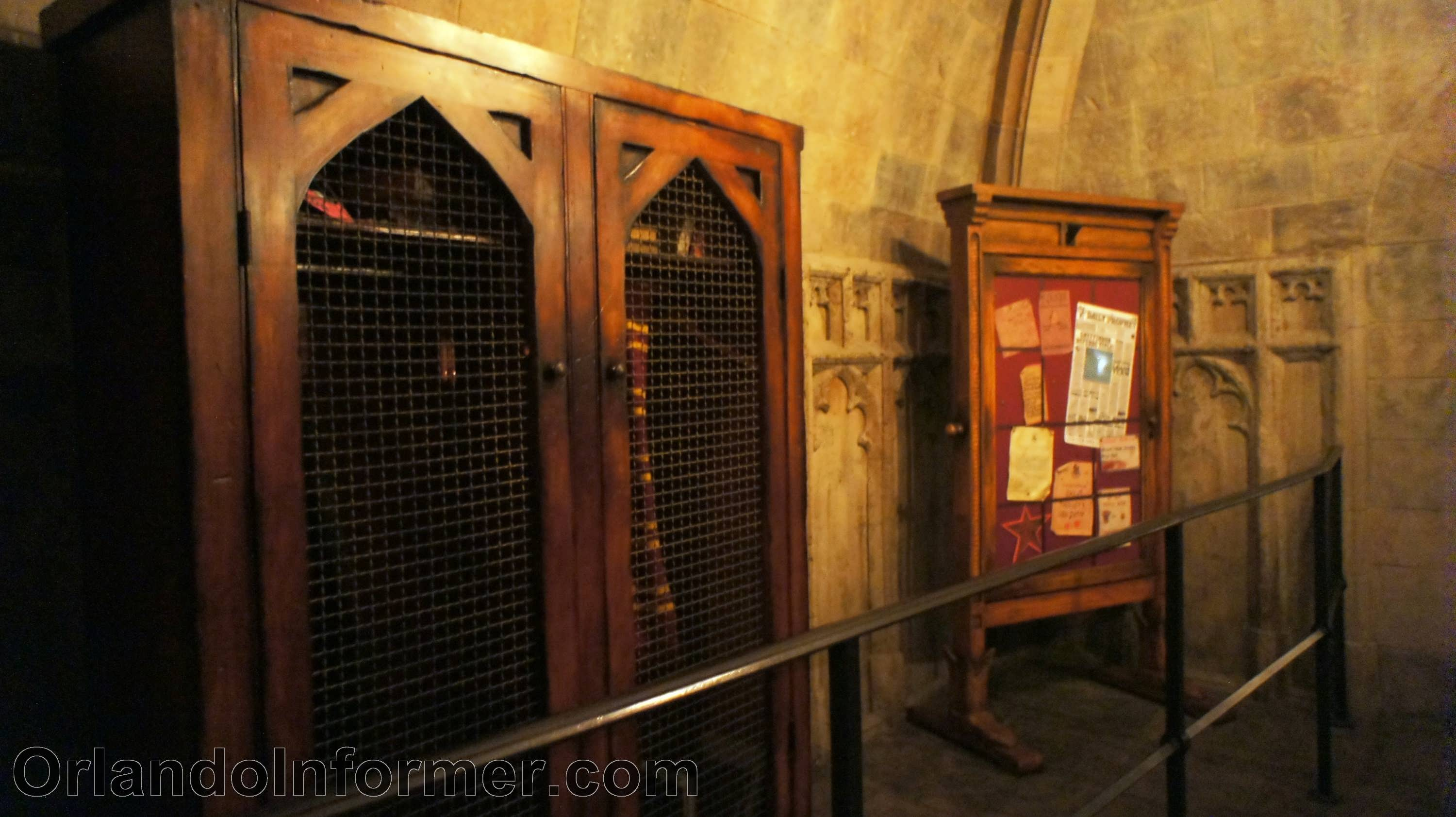 Harry Potter and the Forbidden Journey Quidditch Closet and Daily Prophet.
