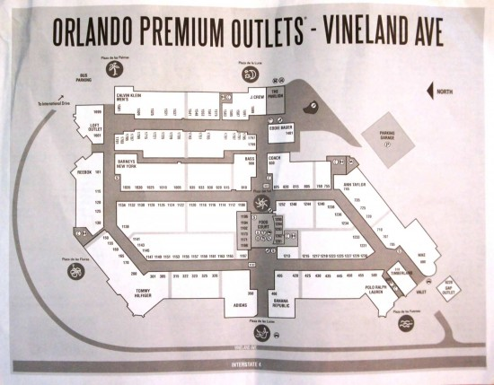 Orlando Premium Outlets Vineland Ave - map.