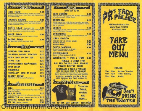 PR's Taco Palace: Take out menu.