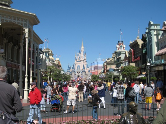 Main Street, USA at Walt Disney World: Magic Kingdom at 9am. Imagine it at noon!