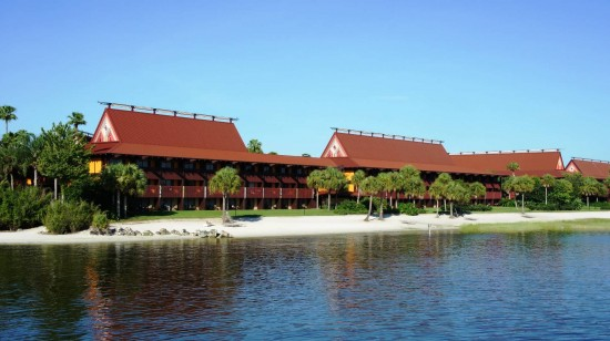Disney's Polynesian Resort beachfront sits on the Seven Seas Lagoon across from Magic Kingdom.