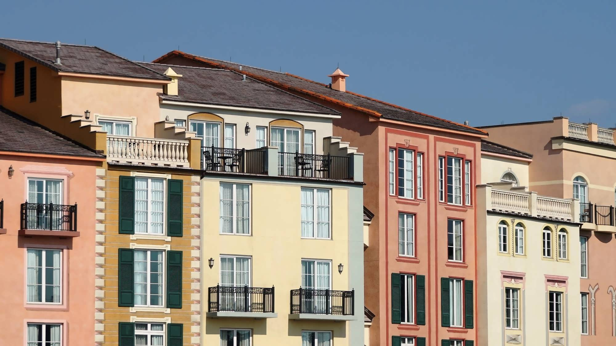Juliette and full balconies at Portofino Bay Hotel.