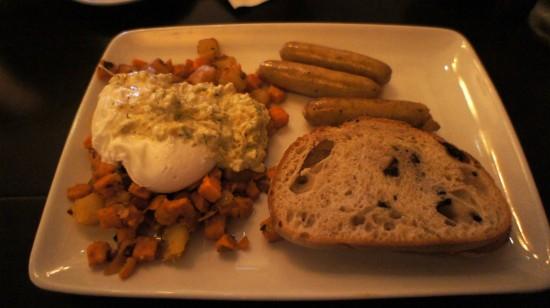 Kouzzina by Cat Cora at Disney's BoardWalk: Kouzzina Stacked Breakfast with chicken sausage.