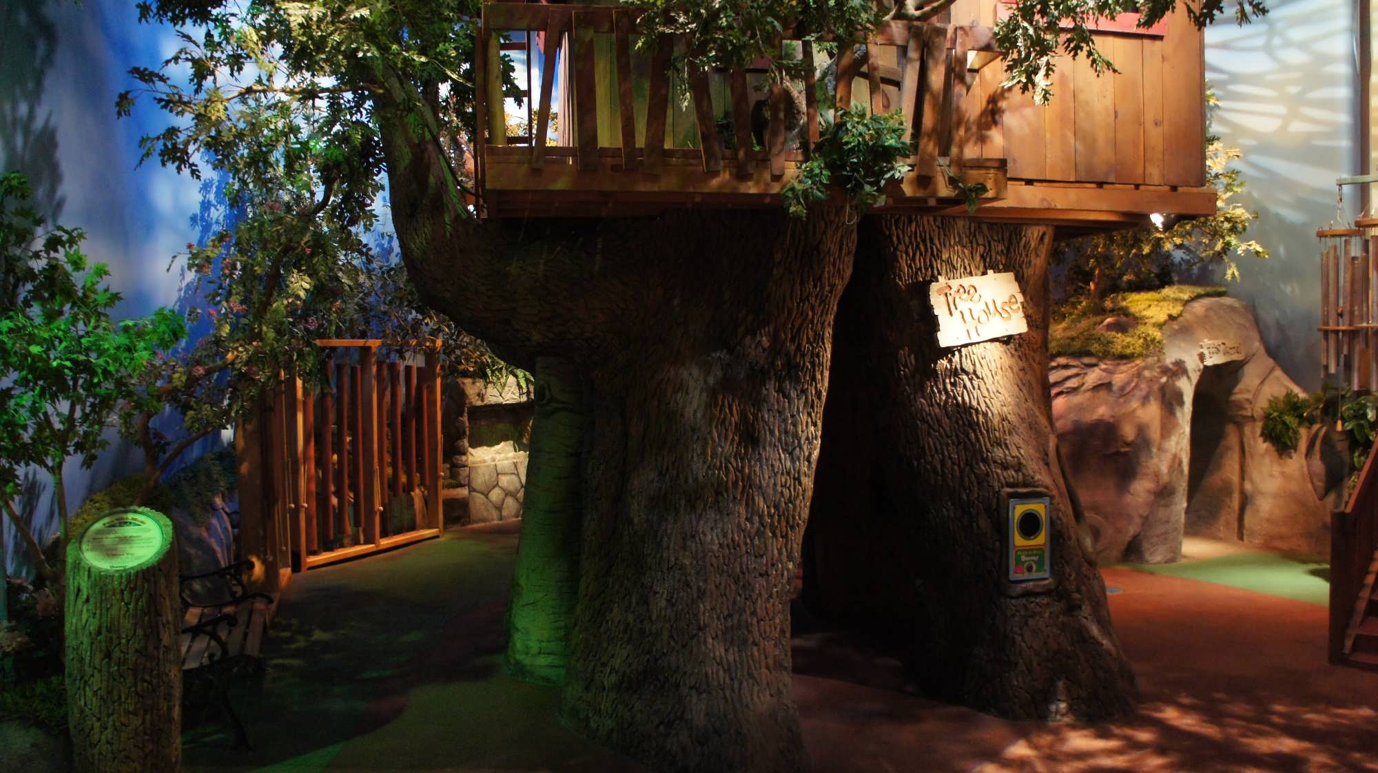 Barney's Backyard indoor playground features this tree house and much more!