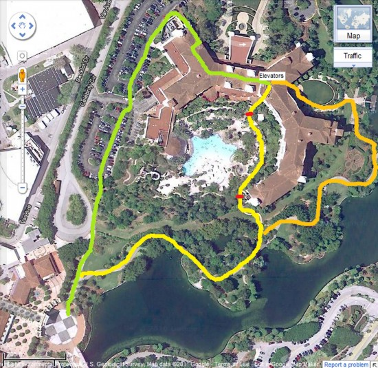 Paths from Hard Rock Hotel to Universal Studios Florida.