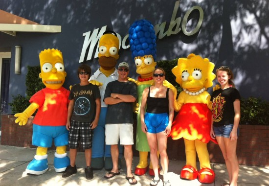 Our family with the Simpsons in Universal Studios Florida.