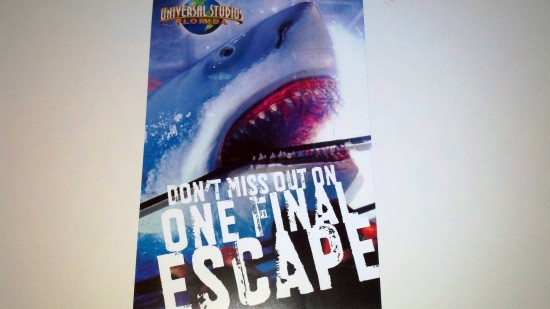 """Universal Orlando's """"One Final Escape"""" mailer - front."""