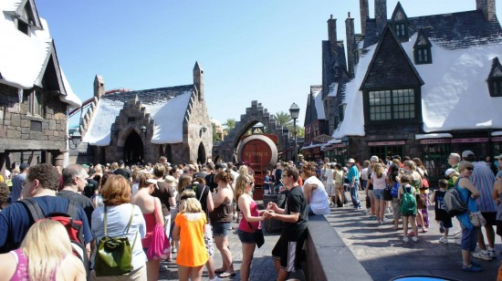 Spring Break crowds inside the Wizarding World of Harry Potter - April 2, 2012: Love at first butterbeer.