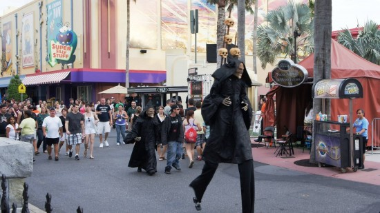 A few scareactors pacing through the streets.