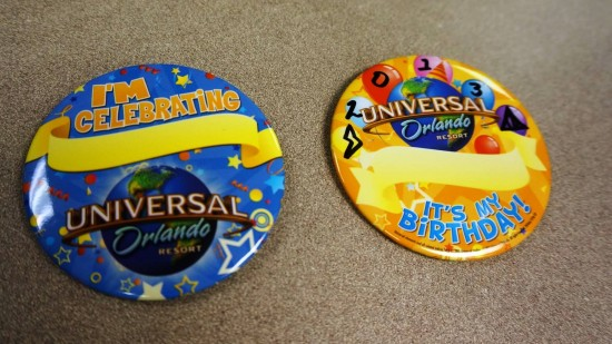 I'm Celebrating & Birthday buttons at Universal Orlando.