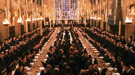 The Great Hall of Hogwarts Castle.