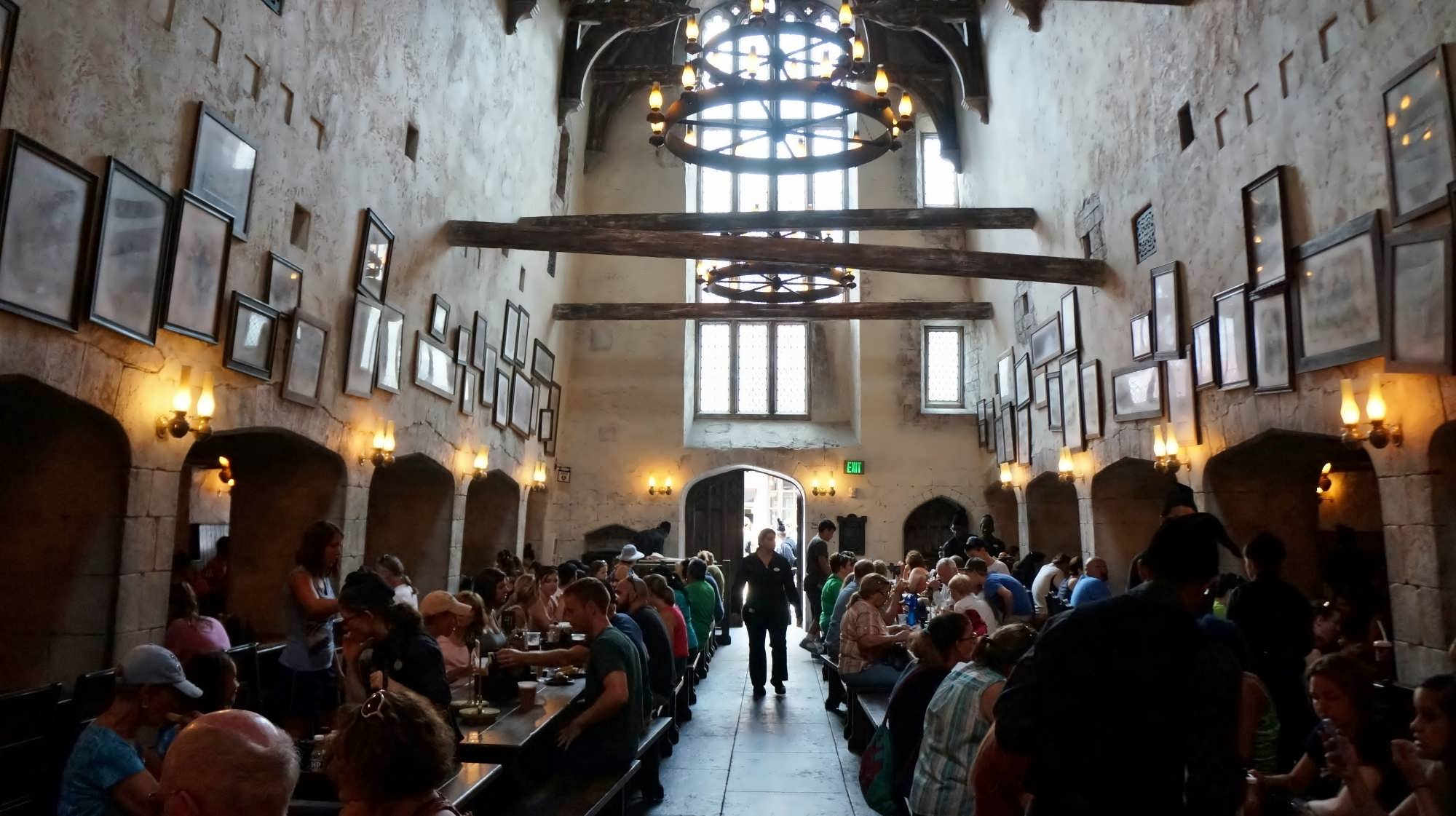 The main dining room at The Leaky Cauldron