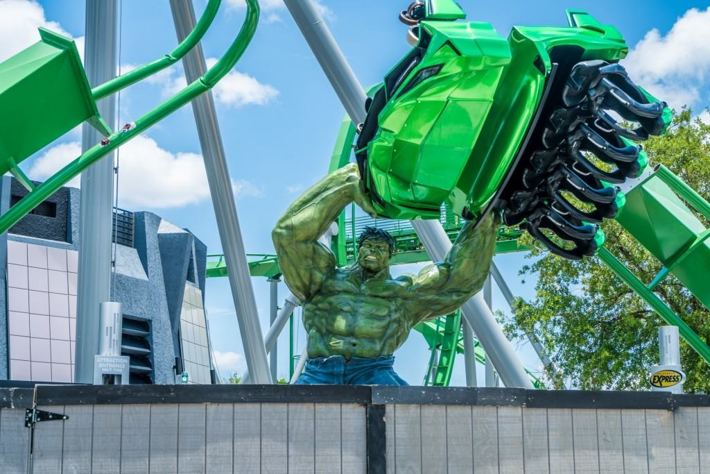 The new Incredible Hulk Coaster Entrance Marquee