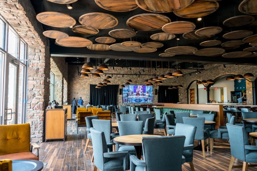 Indoor seating at Strong Water Tavern at Loews Sapphire Falls Resort