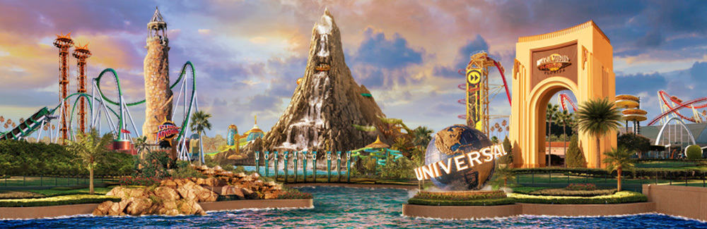 An overview of Universal Orlando Resort, now featuring Volcano Bay