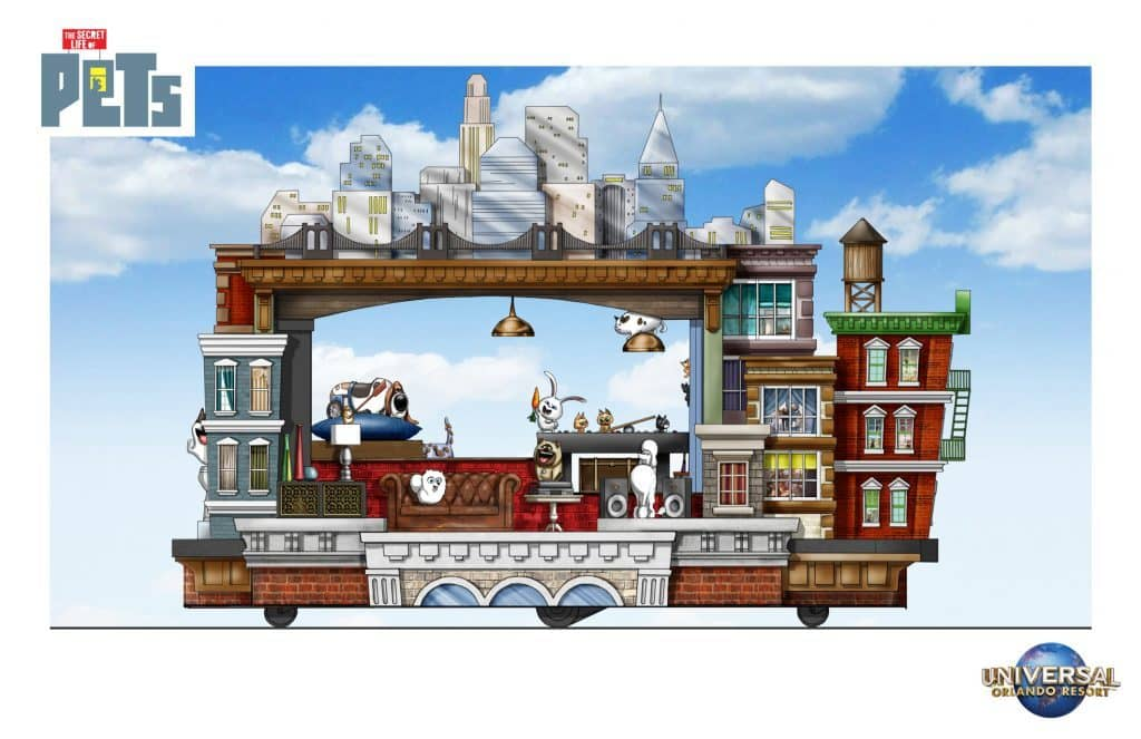 The Secret Life of Pets Apartments Superstar Parade float left side
