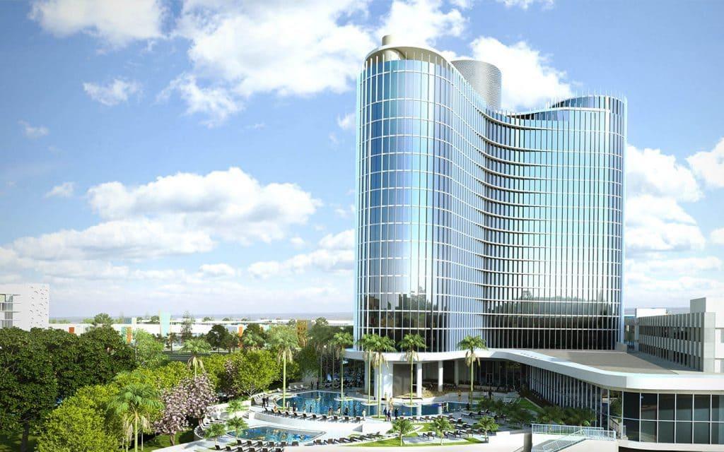 Universal's Aventura Hotel pool and tower at Universal Orlando Resort