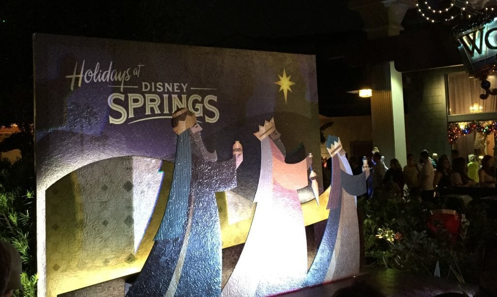 Wooden cutout featuring the three kings in Disney Springs.