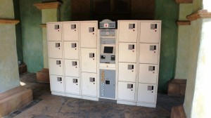 IOA lockers - Set 6. Outside the park, to the far left of the entrance.