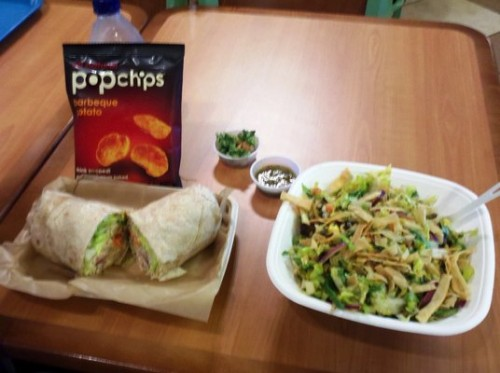 Fresh A-Peel: Savory chicken wrap, skirt steak salad, salsa and chips