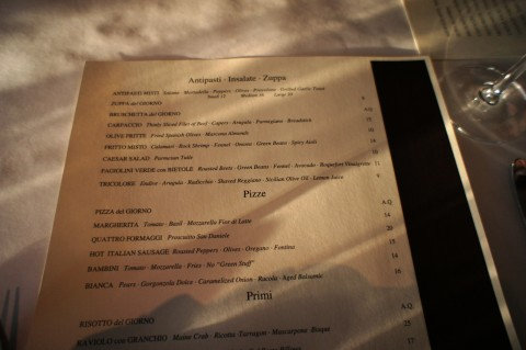 La Luce by Donna Scala: Top of the menu.