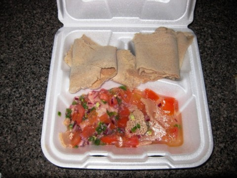 Nile Ethiopian Cuisine: Tomato FitFit to go.