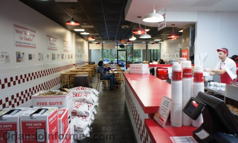 Five Guys: Looking back from the order register.