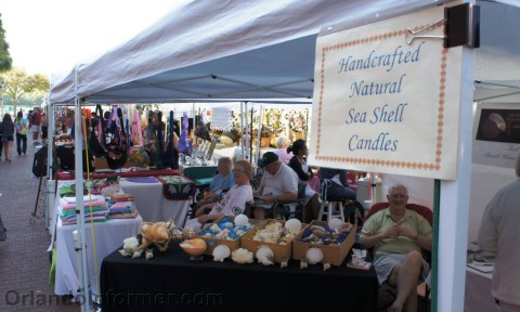 Celebration farmers market: Sea shell candles.