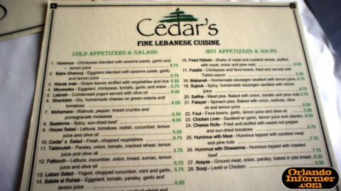 Cedar's Restaurant of Orlando: Top half of the menu.