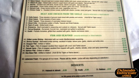 Cedar's Restaurant of Orlando: Bottom half of the menu.