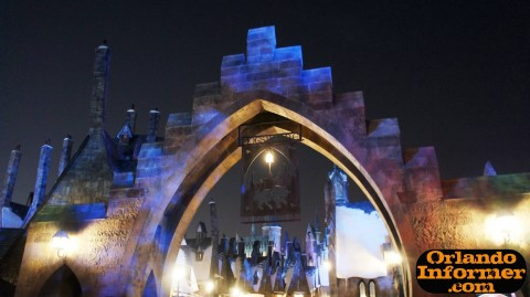 Wizarding World of Harry Potter at night: Main entrance.