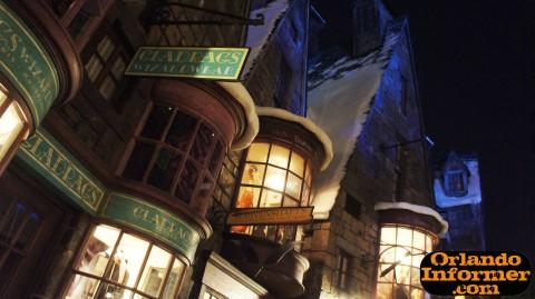Wizarding World of Harry Potter at night: Hogsmeade Village.
