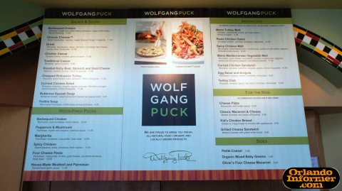 Wolfgang Puck Cafe at Downtown Disney's West Side: Quick-service menu.