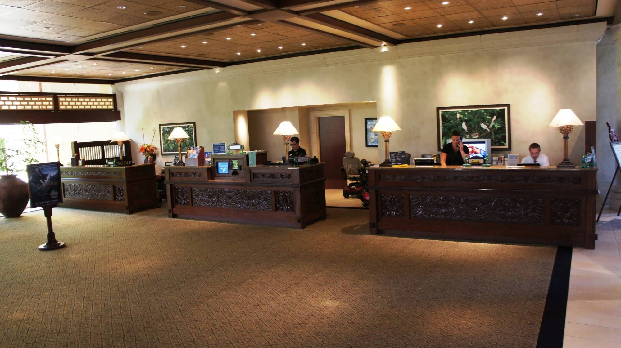 Concierge area at Universal's Royal Pacific Resort.