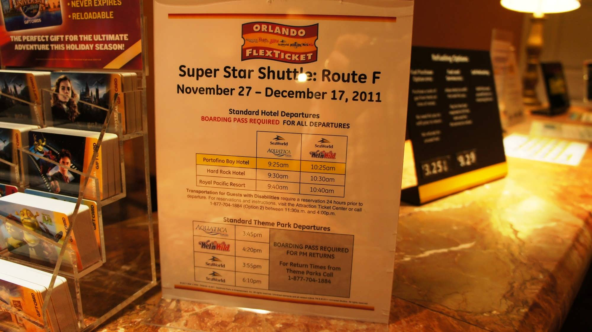 Super Star Shuttle sample schedule from Universal's on-site hotels