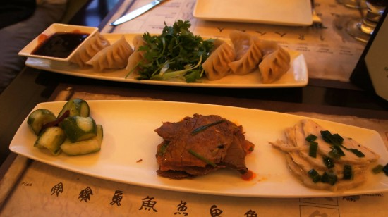 Nine Dragons Restaurant at Epcot's China Pavilion: Appetizer Trio and Pot Stickers.