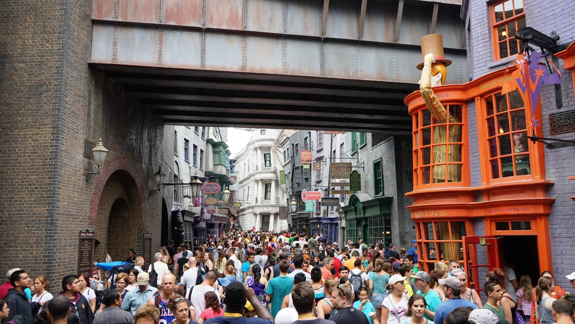 Crowds inside The Wizarding World of Harry Potter – Diagon Alley.