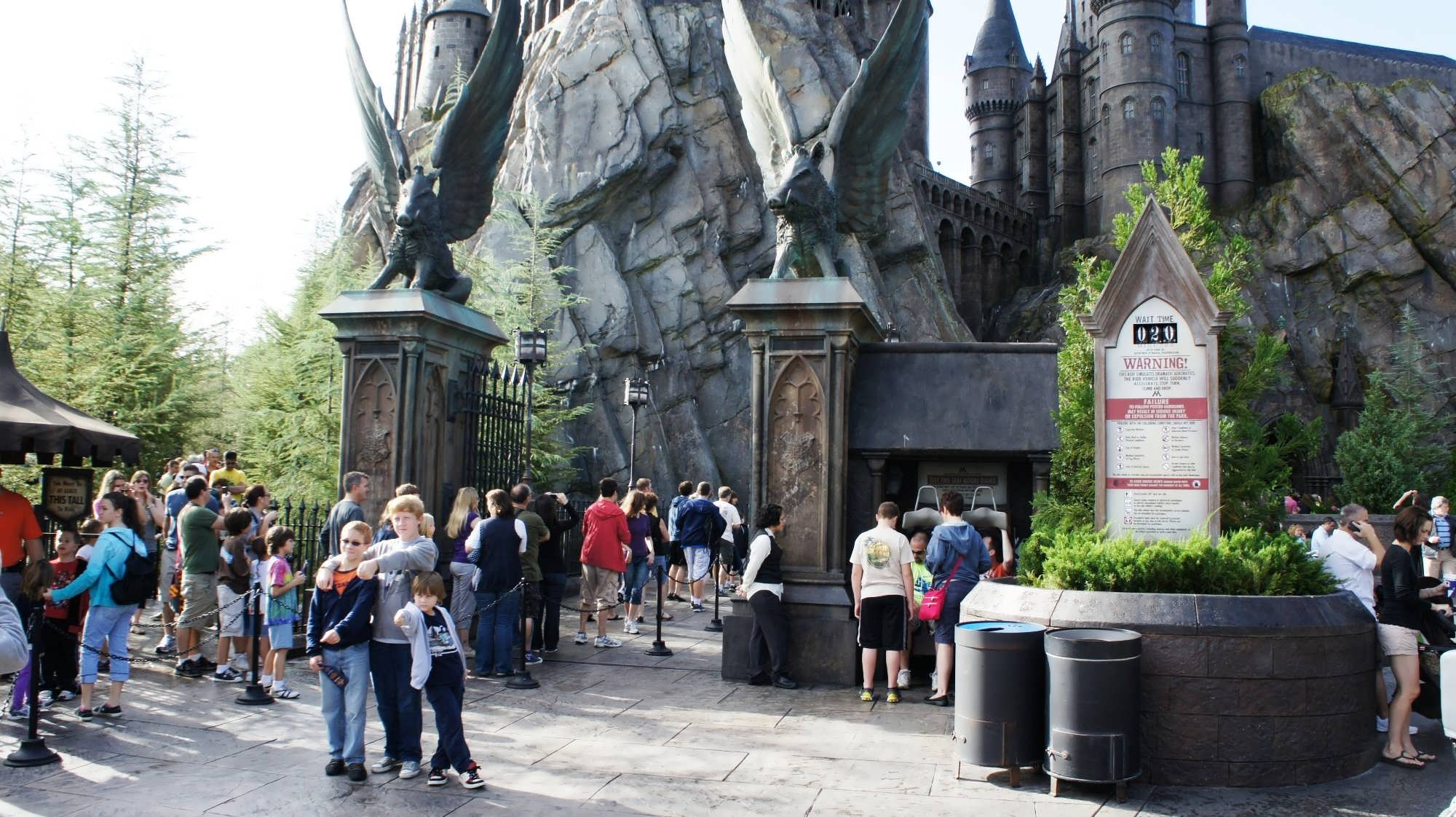 The line stretching out from the gates of Hogwarts Castle – seen on the left (1).