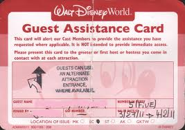 Disney World Guest Assistance Pass.