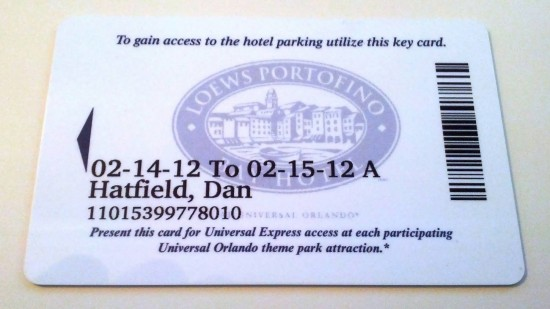 Portofino Bay Hotel room key.