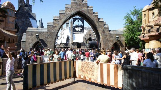 Spring Break crowds inside the Wizarding World of Harry Potter - April 2, 2012: Crowd control gates up.
