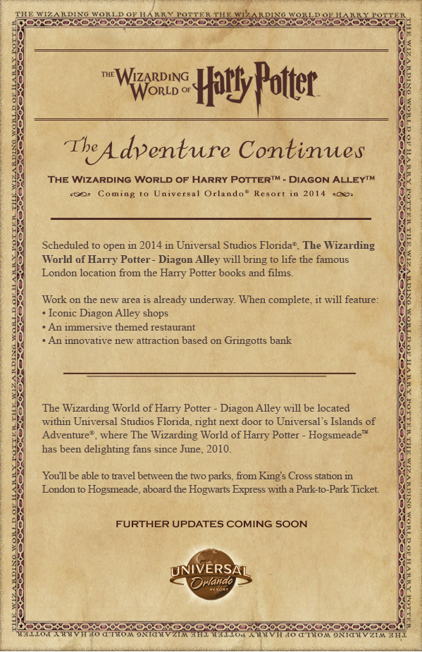 Wizarding World of Harry Potter - Diagon Alley invitation.