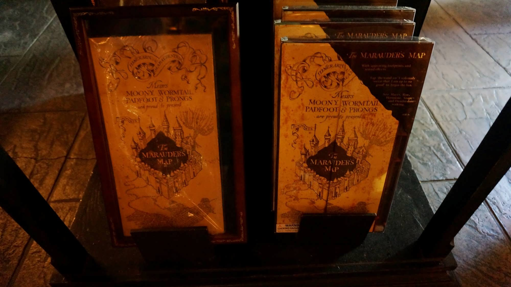Maurader's Map at Filch's Emporium of Confiscated Goods in The Wizarding World of Harry Potter - Hogsmeade.