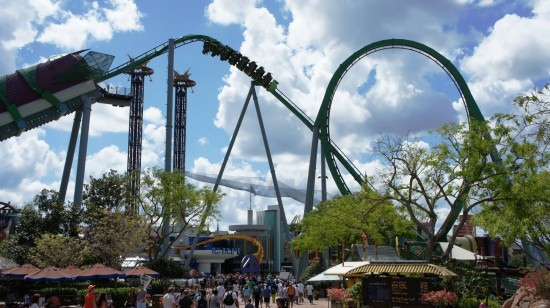 The Incredible Hulk Coaster looms over Islands of Adventure.