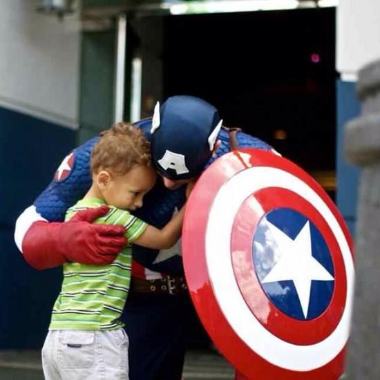 Captain America hug.