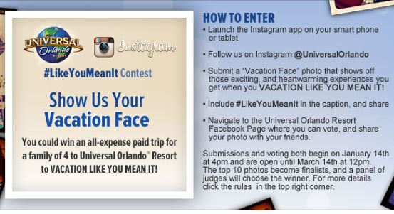 Universal Orlando's Vacation Like You Mean It sweepstakes.