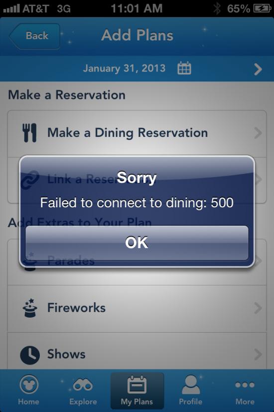 My Disney Experience iPhone app error.