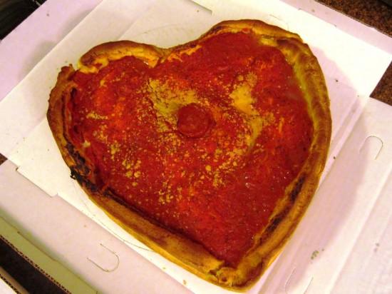 Giordano's Famous Stuffed Valentin's Day Pizza.